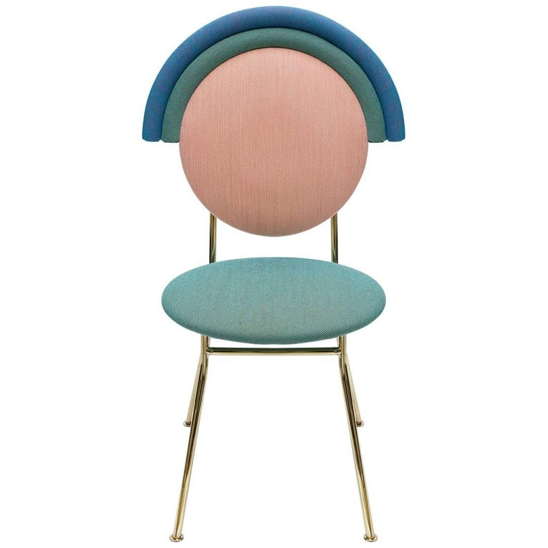 Contemporary Iris Chair with Brass Finished Legs For Sale