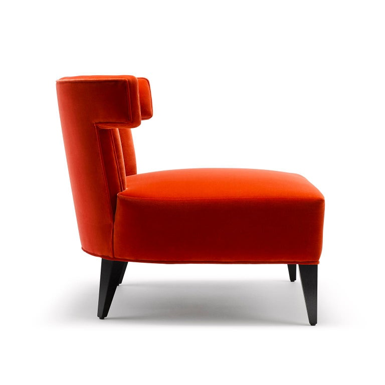 Modern Contemporary Isabella Chair in Terracotta Red Velvet with Legs in Walnut or Oak For Sale