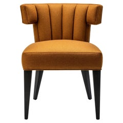 Contemporary Isabella Dining Chair in Melton Wool with Solid Walnut Legs