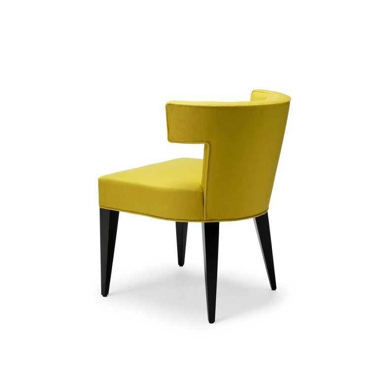 Modern Contemporary Isabella Dining Chair in Sandra Jordan Alpaca Wool with Walnut Legs For Sale