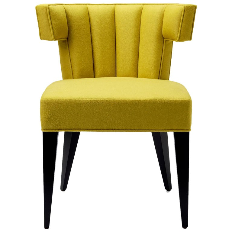 Contemporary Isabella Dining Chair in Sandra Jordan Alpaca Wool with Walnut Legs For Sale