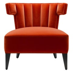 Contemporary Isabella Slipper Chair in Red Velvet with Legs in Walnut
