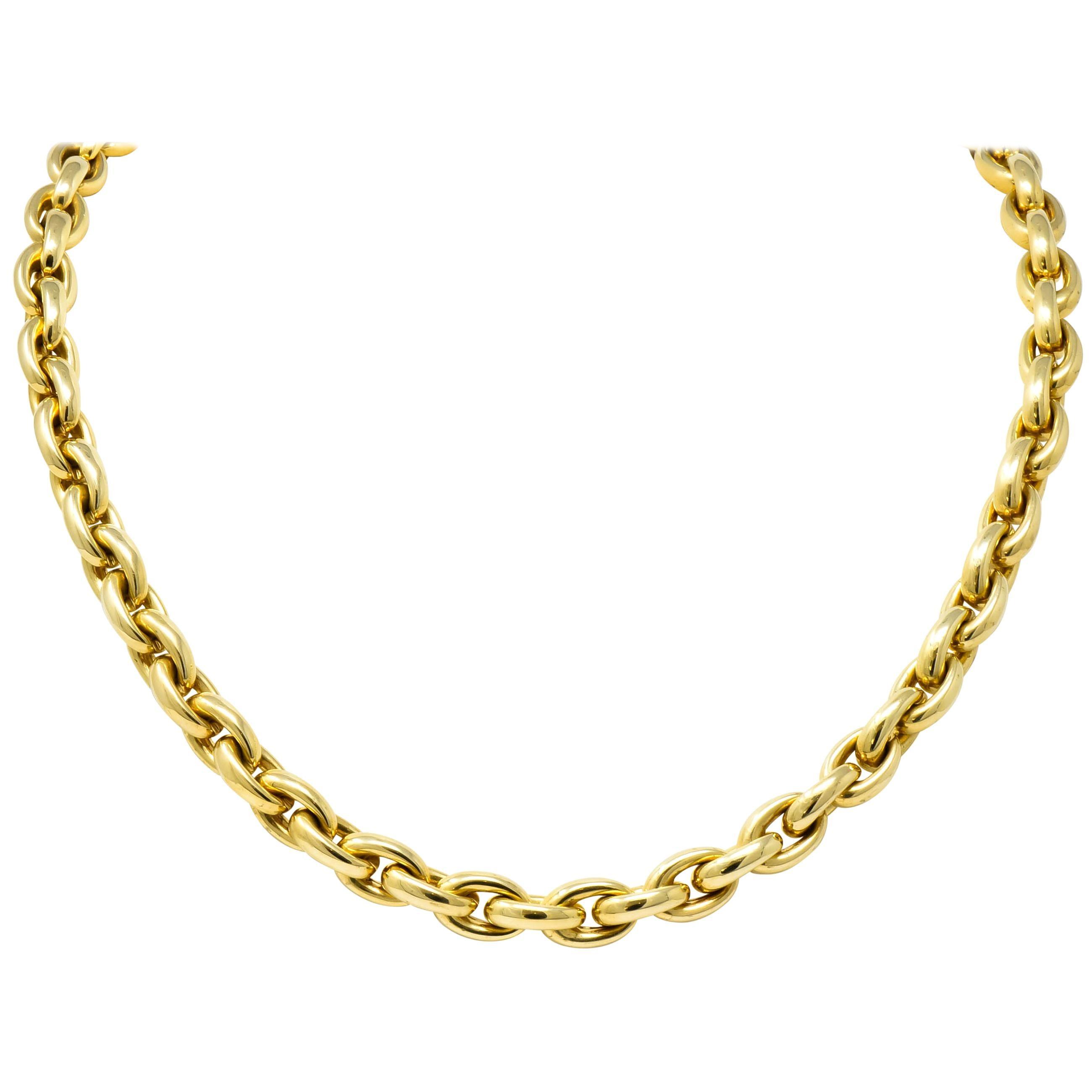 Contemporary Italian 14 Karat Yellow Gold Mariner Link Necklace