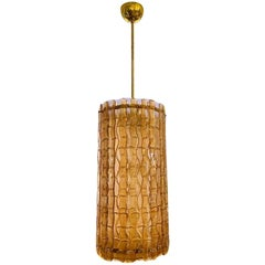 Contemporary Italian Amber Crystal Murano Glass Tall Brass Lantern / Chandelier