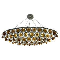 Contemporary Italian Amber Gold and Clear Glass Oval Silver Flush/Chandelier