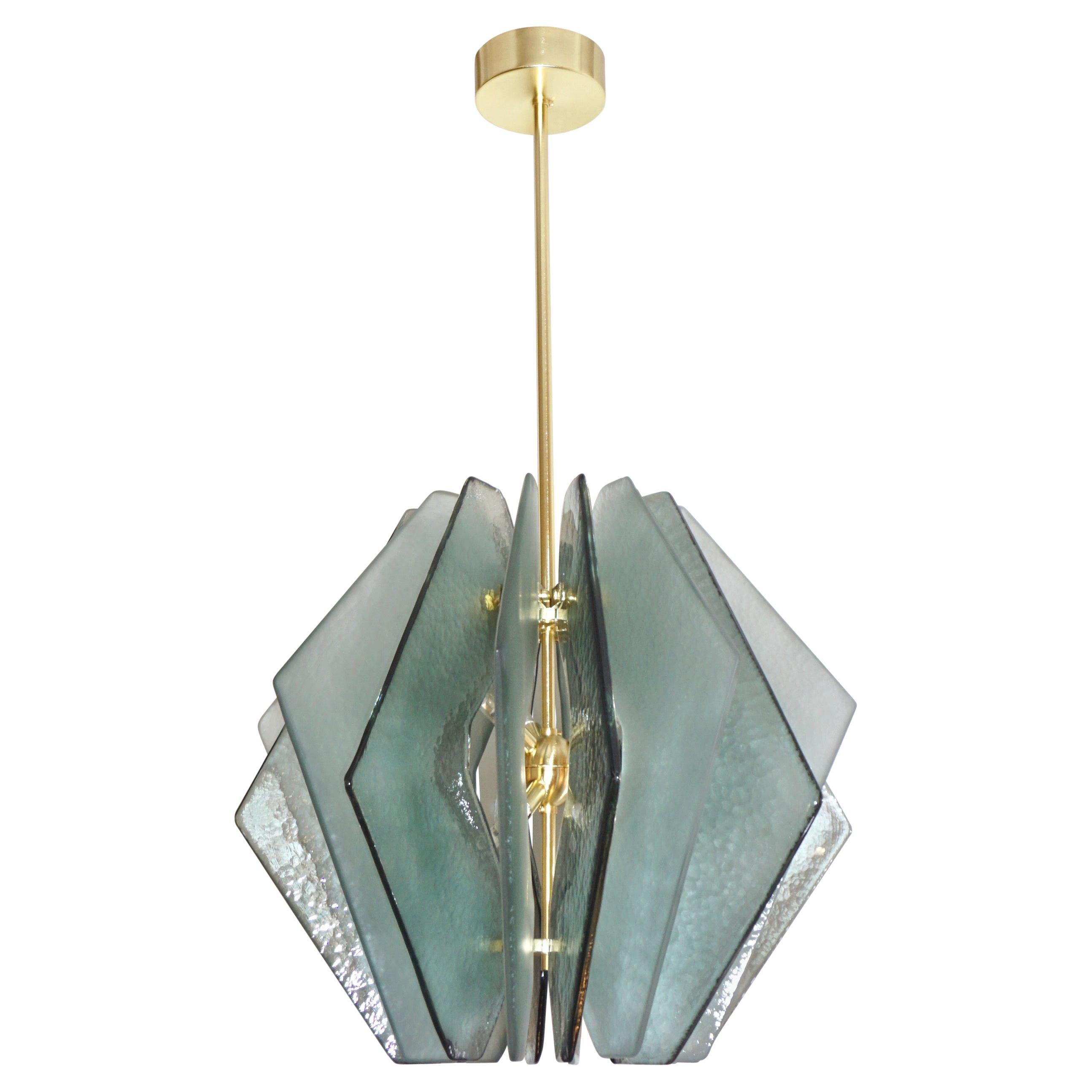 Contemporary Italian Aqua Blue Green Textured Murano Glass Pendant/Chandelier