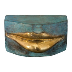 Contemporary Italian Aquamarine Patinated Bronze Sculpture with Gold Brass Lips