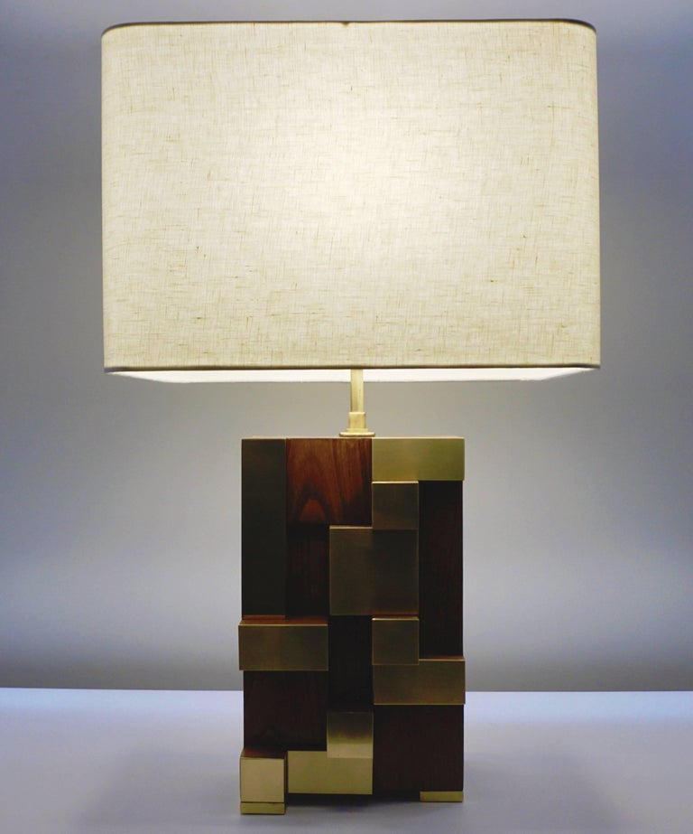 Contemporary Italian Architectural Pair of Stepped Wood and Brass Urban Lamps For Sale 5