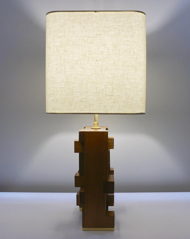 Contemporary Italian Architectural Pair of Stepped Wood and Brass Urban Lamps For Sale 6