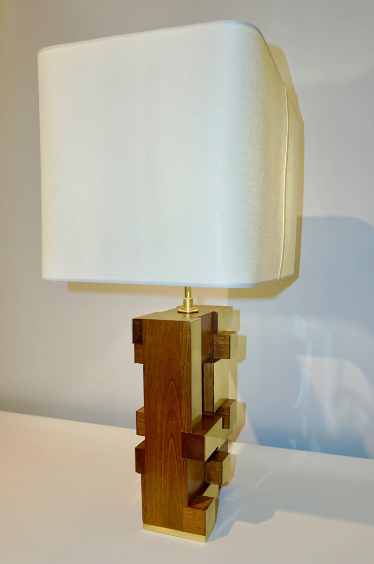 Contemporary Italian Architectural Pair of Stepped Wood and Brass Urban Lamps For Sale 1