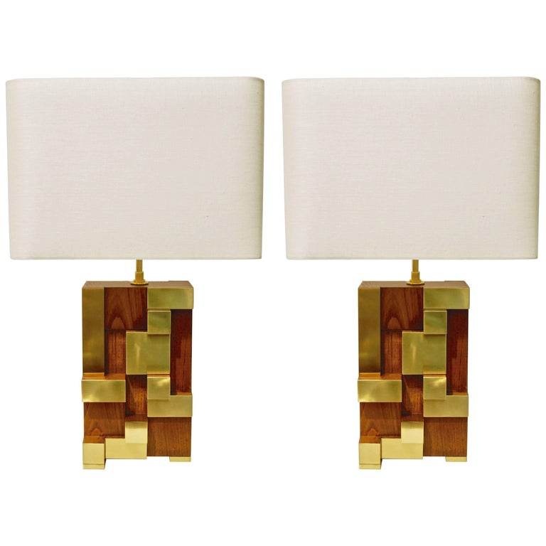 Contemporary Italian Architectural Pair of Stepped Wood and Brass Urban Lamps For Sale