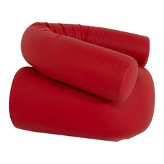 Contemporary Italian Armchair by Giovanni Grismondi Design, Red Leather, 2020