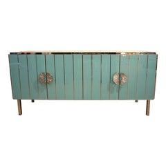 Contemporary Italian Art Deco Style Aqua Turquoise Glass Nickel Modern Cabinet