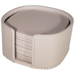 Contemporary Italian Beige Leather Rudi Acquerello Coaster Set