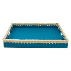 Contemporary Italian Blue Leather and Wicker Tray