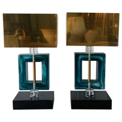 Contemporary Italian Blue Murano Glass Lamps with Black Base and Brass Shades