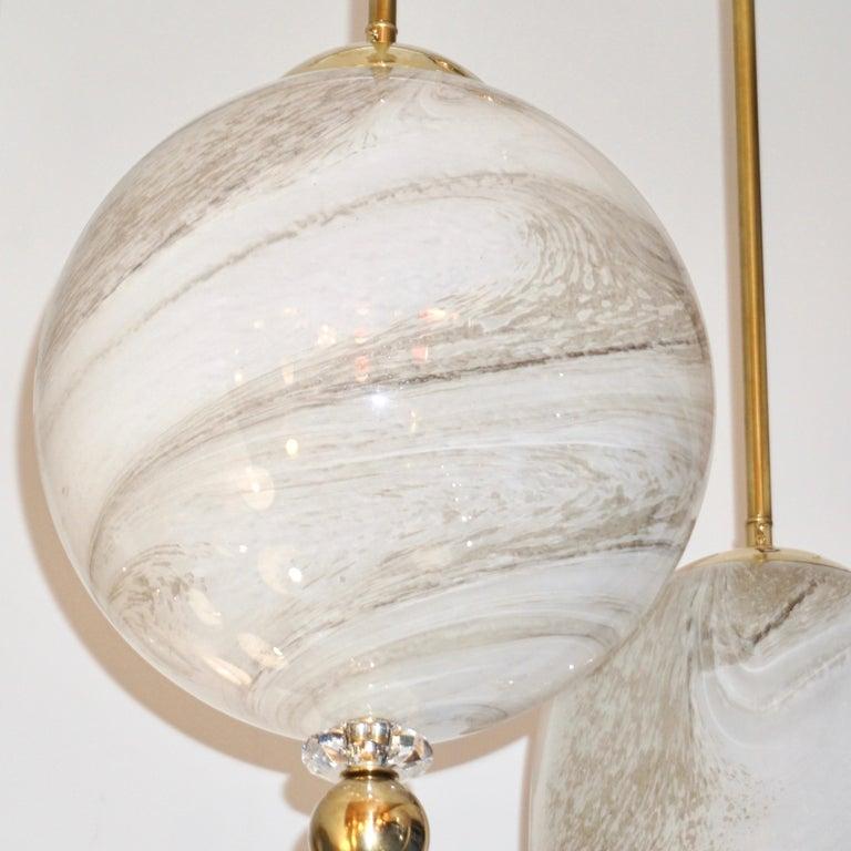 Contemporary Italian Brass and Cream White Alabaster Glass Round Pendant Light For Sale 5