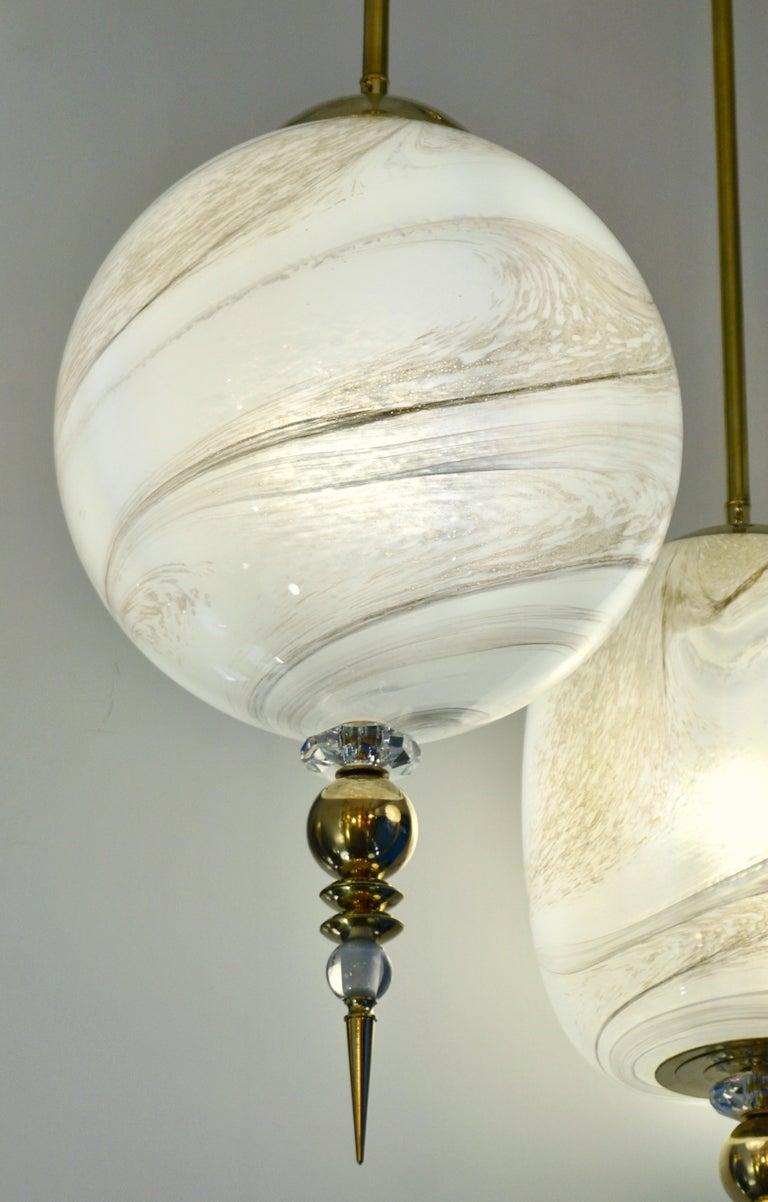 Contemporary Italian Brass and Cream White Alabaster Glass Round Pendant Light For Sale 2