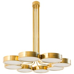 Contemporary Italian Brass and Glass Chandelier