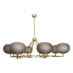 Contemporary Italian Brass and Grey Glass Chandelier