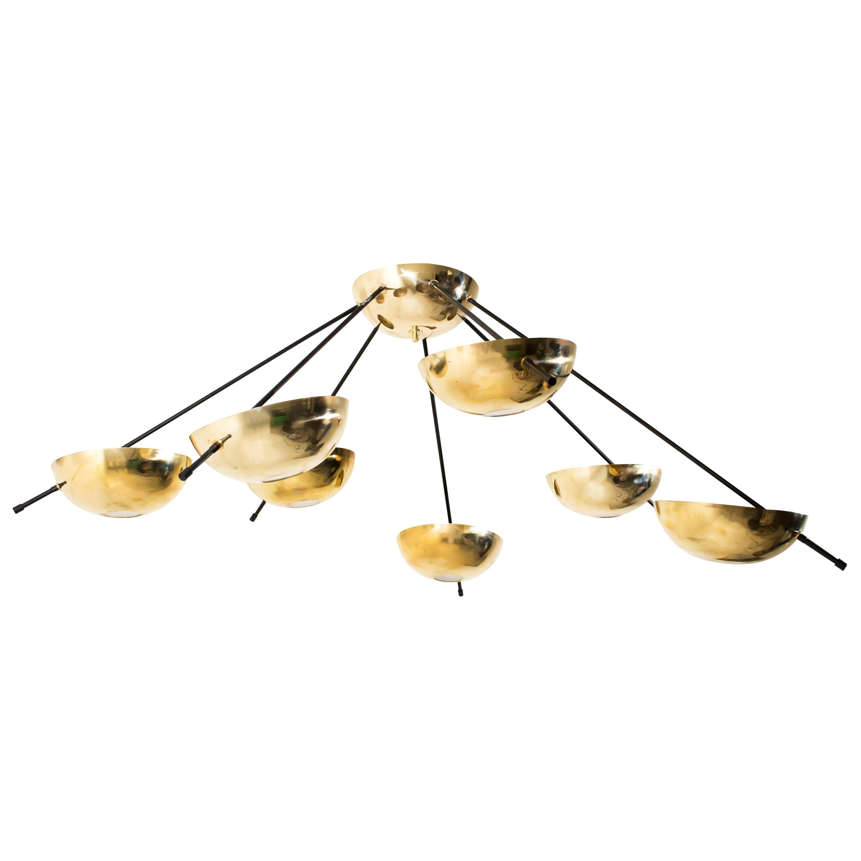 Contemporary Italian Brass Bowl and Black Metal Chandelier