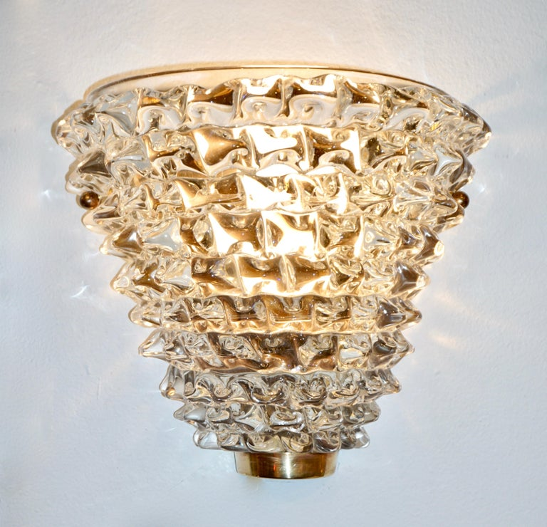 Contemporary Italian Brass & Crystal Rostrato Textured Murano Glass Sconces For Sale 7
