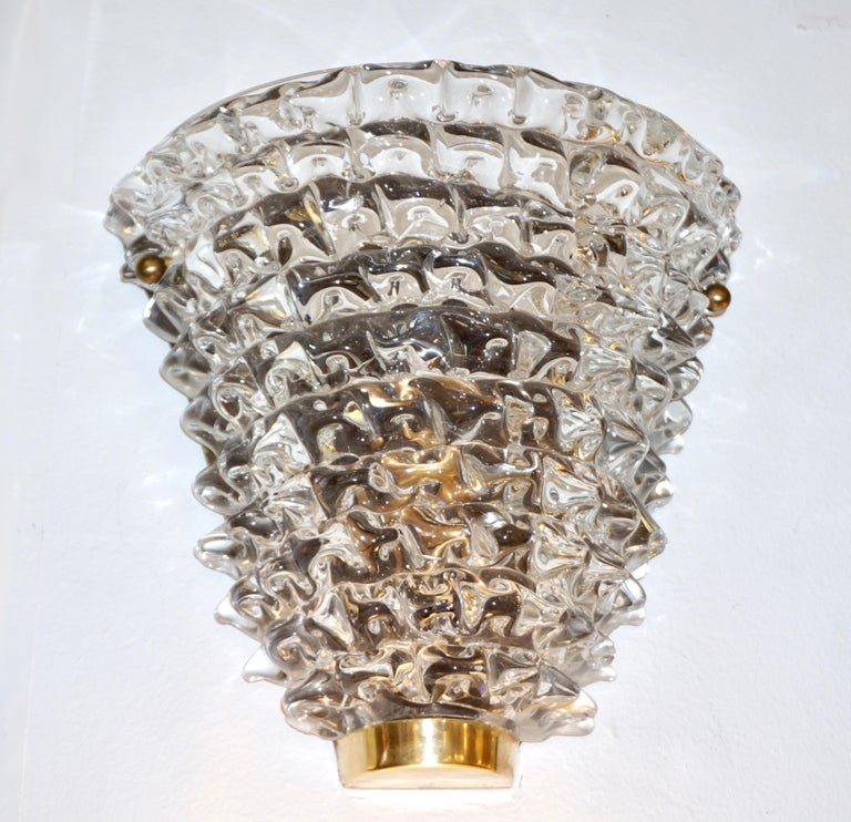 Hand-Crafted Contemporary Italian Brass & Crystal Rostrato Textured Murano Glass Sconces For Sale