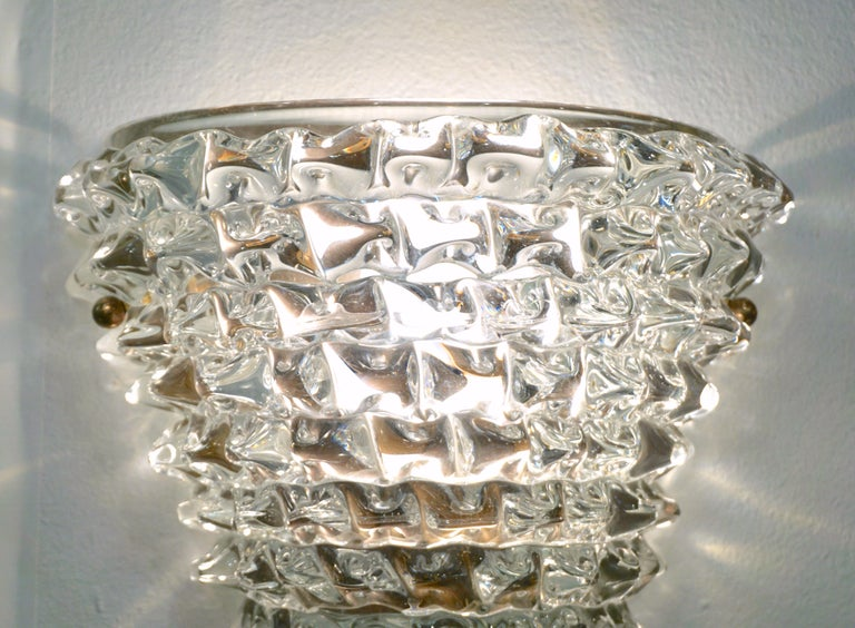 Contemporary Italian Brass & Crystal Rostrato Textured Murano Glass Sconces In New Condition For Sale In New York, NY
