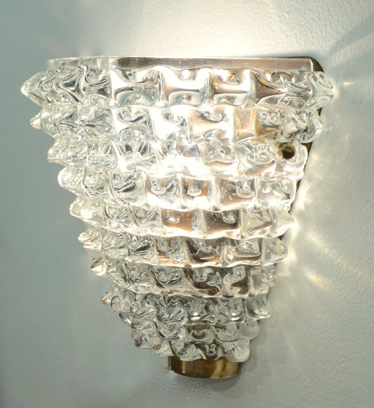 Contemporary Italian Brass & Crystal Rostrato Textured Murano Glass Sconces For Sale 1