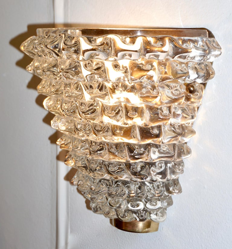 Contemporary Italian Brass & Crystal Rostrato Textured Murano Glass Sconces For Sale 3