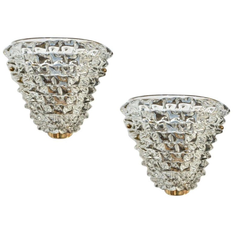 Contemporary Italian Brass & Crystal Rostrato Textured Murano Glass Sconces For Sale