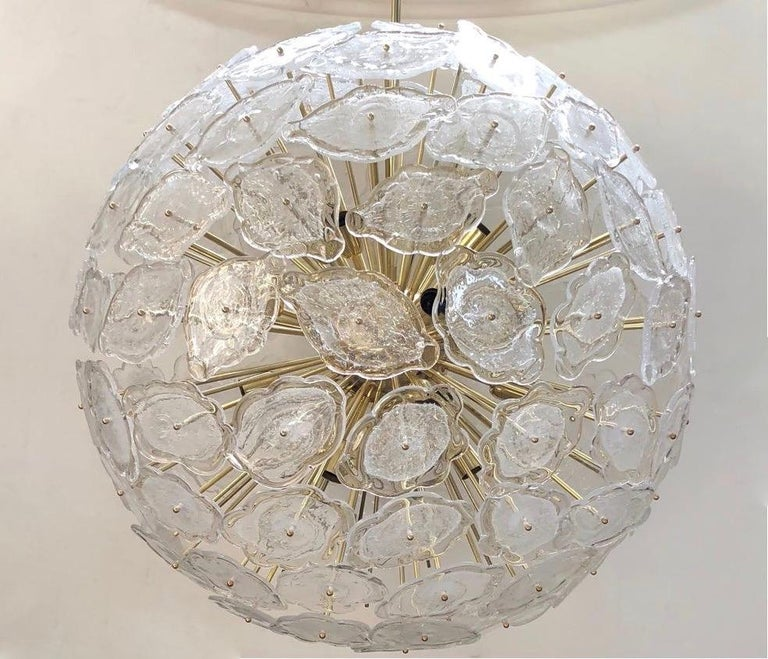 Contemporary Italian Brass & White Frosted Murano Glass Leaf Sputnik Chandelier In New Condition For Sale In New York, NY