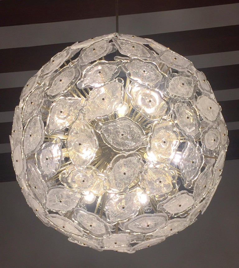 Contemporary Italian Brass & White Frosted Murano Glass Leaf Sputnik Chandelier For Sale 6
