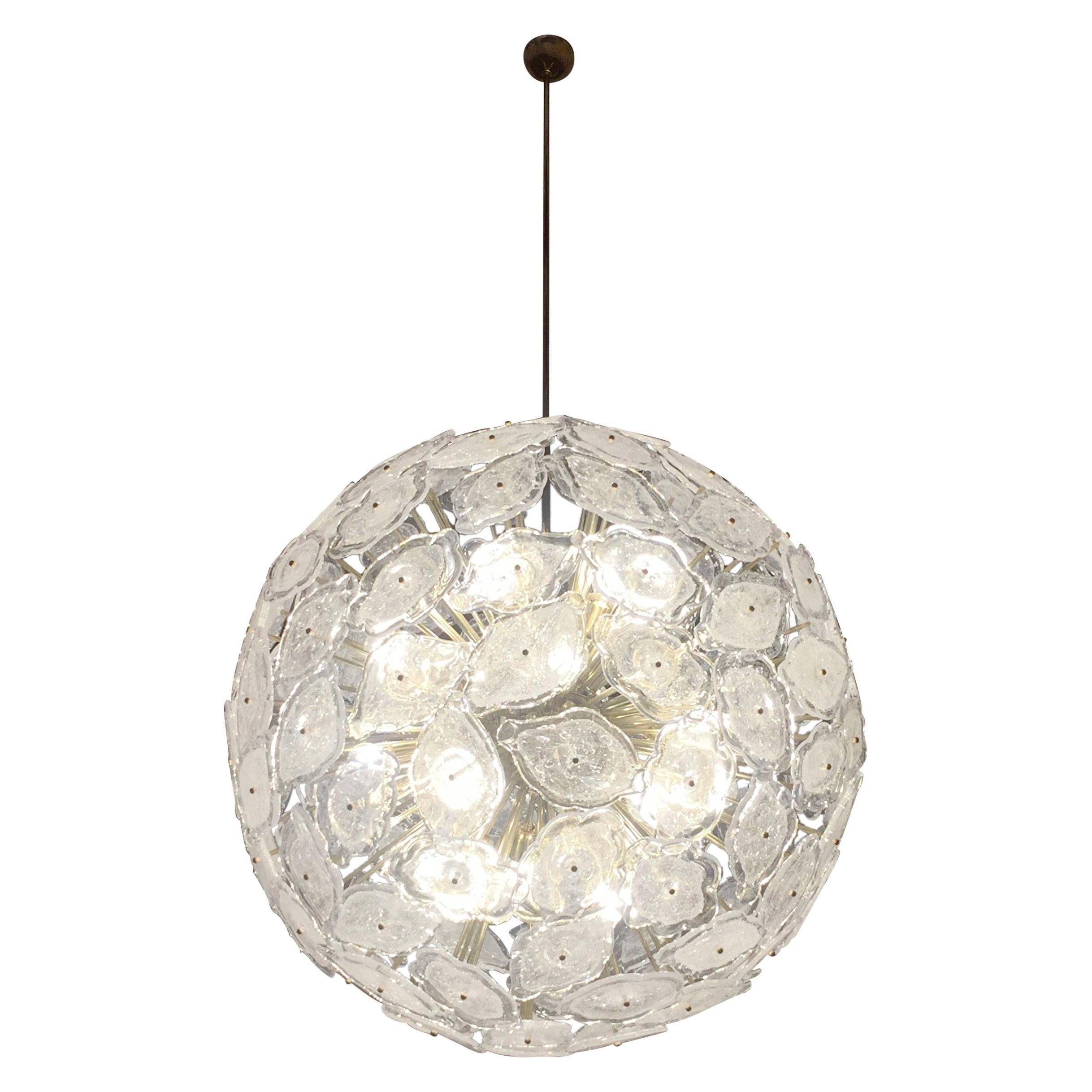 Contemporary Italian Brass & White Frosted Murano Glass Leaf Sputnik Chandelier