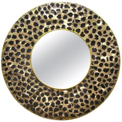 Contemporary Italian Brutalist Leopard Brass and Black Glass Modern Round Mirror