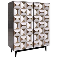 Contemporary Italian Cabinet in Calacatta Marble and Brass