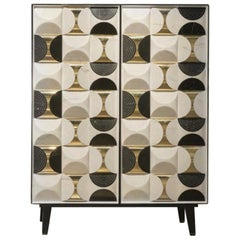 Contemporary Italian Cabinet in Nero Marquina and Calacatta Marble and Brass