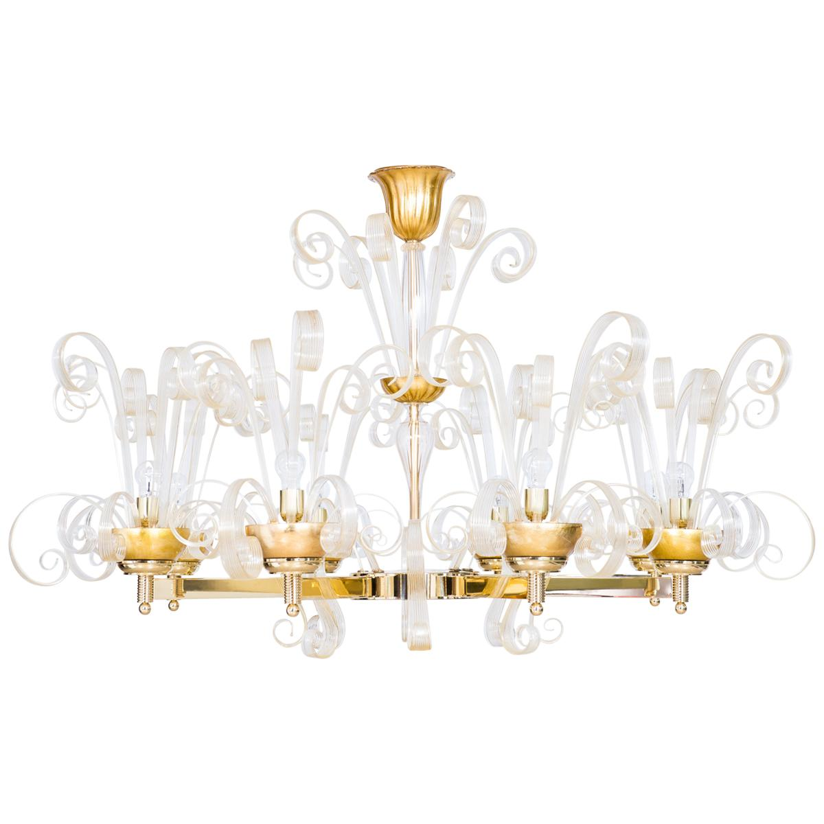Circular gold chandelier pastorals in Blown Murano Glass limited edition Italy