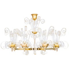 Chandelier Brass frame and Gold Pastorals in Blown Murano Glass, Italy Modern