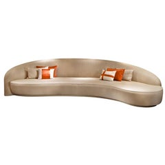 Contemporary Italian Crafted Sofa, Curved Shape in COM
