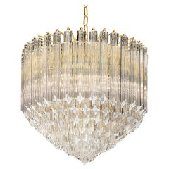 Contemporary Italian Crystal 'Cake' Chandelier with Gold Frame