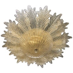 Contemporary Italian Custom Amber Textured Murano Glass Brass Flower Flush Mount