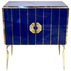 Contemporary Italian Custom Art Deco Style Royal Blue Glass Modern Cabinet /Bar