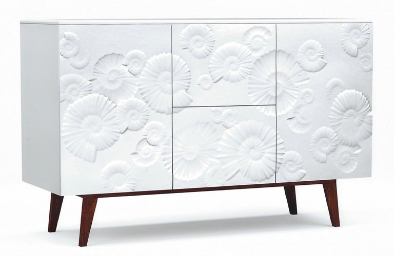Contemporary Italian Design White Sideboard or Cabinet with Burgundy Wood Legs For Sale 5