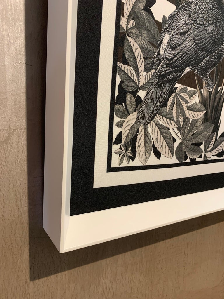 Contemporary Italian Designer Printed Foulard with Matte White Wooden Frame In New Condition For Sale In Scandicci, Florence