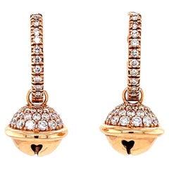 Contemporary Italian Diamond 18 Karat Rose Gold Drop Earrings