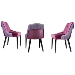 Set of 6 Contemporary Italian Upholstered Dining Chairs with Fringes