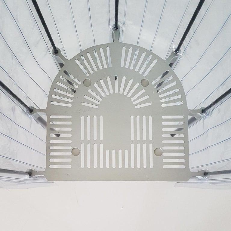Contemporary Italian Gaetano Pesce Aluminium Structure Armchair with Red Seat For Sale 5