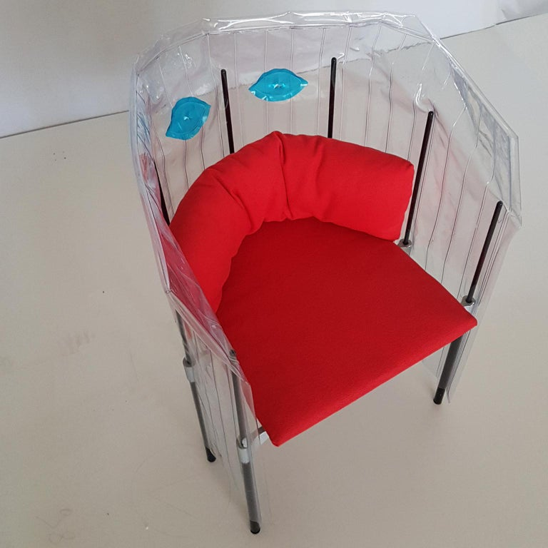 Post-Modern Contemporary Italian Gaetano Pesce Aluminium Structure Armchair with Red Seat For Sale