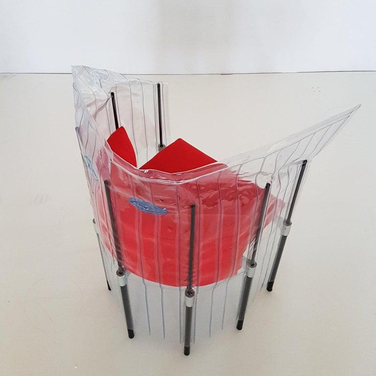 Contemporary Italian Gaetano Pesce Aluminium Structure Armchair with Red Seat In Good Condition For Sale In Mornico al Serio ( BG), Lombardia